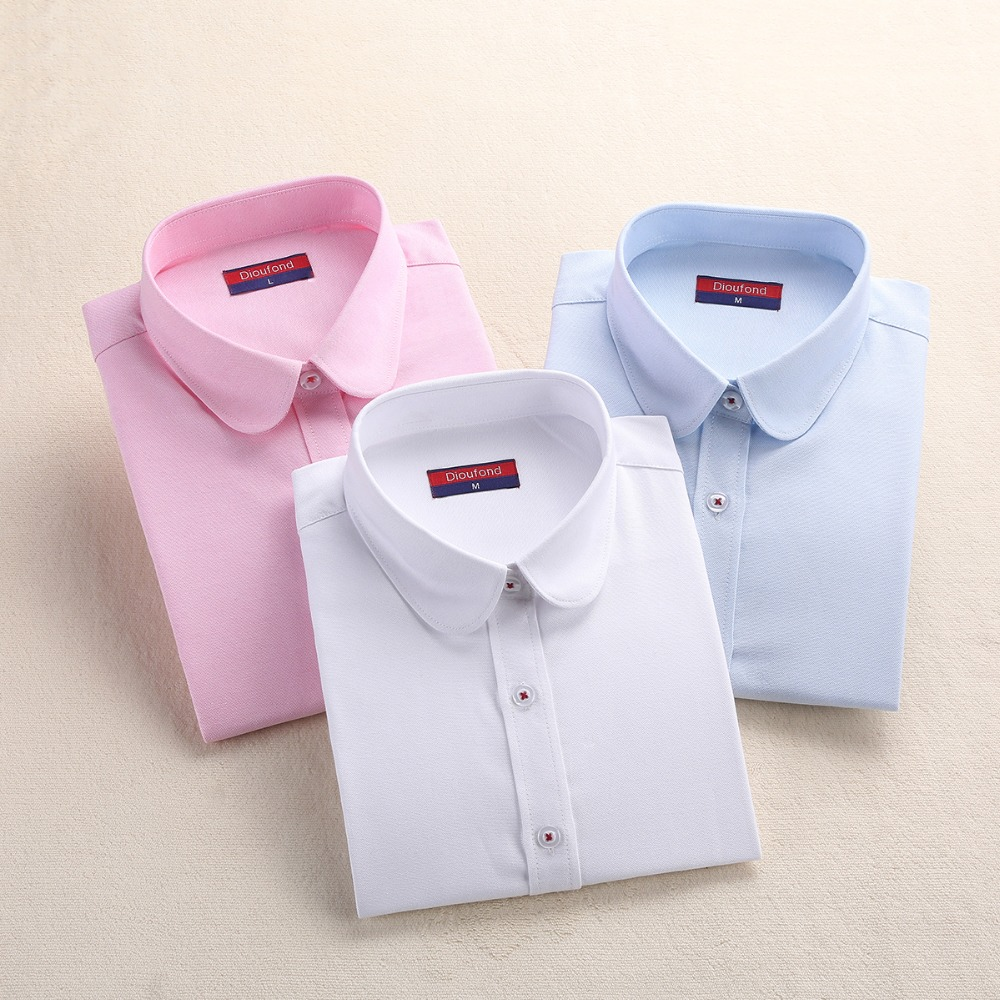 Dioufond New White Shirt Women Work Formal Blouses Cotton Office Ladies Tops Blue Pink School Shirt Plus Size 5XL Female Shirt