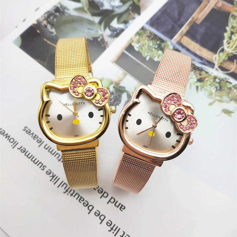 KT Quartz Stainless Steel Watches Hello kitty Children kids diamond Watch Girls Boys Student Clock Wristwatches