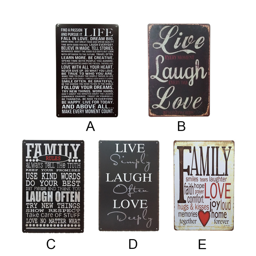 Live Laugh Love Retro Style Iron Sign Painting Decorative Signs Plaque Vintage Metal Tin Poster Bar Pub Club Home Decor In Plaques From