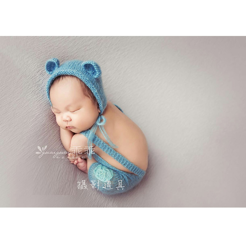 Baby photography bear hat with matching romper newborn baby mohair bonnet set clothes photo props fotografia accessories newborn baby photography props infant knit crochet costume peacock photo prop costume headband hat clothes set baby shower gift