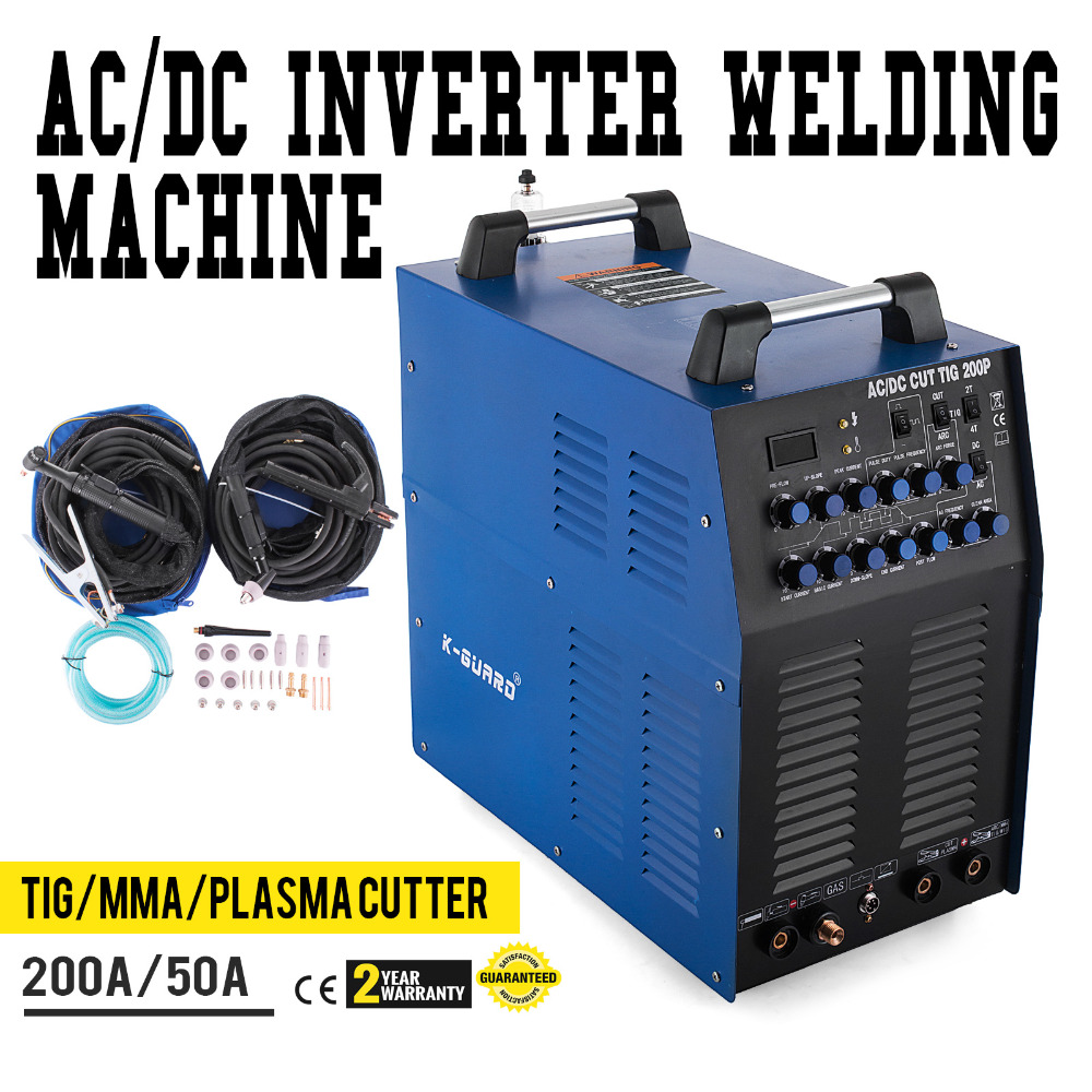 Welder <font><b>AC</b></font>/<font><b>DC</b></font> <font><b>TIG</b></font> <font><b>200</b></font> Amp PULSE MMA ARC Welder And 50 A Plasma Cutter image