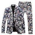 Trajes de hombre Elegante Floral Blazer Jacket Slim Fit Dos Botones Casual Mens Blazers 2016 Resortes Más El Tamaño 5XL Flor Blazer Para Los Hombres