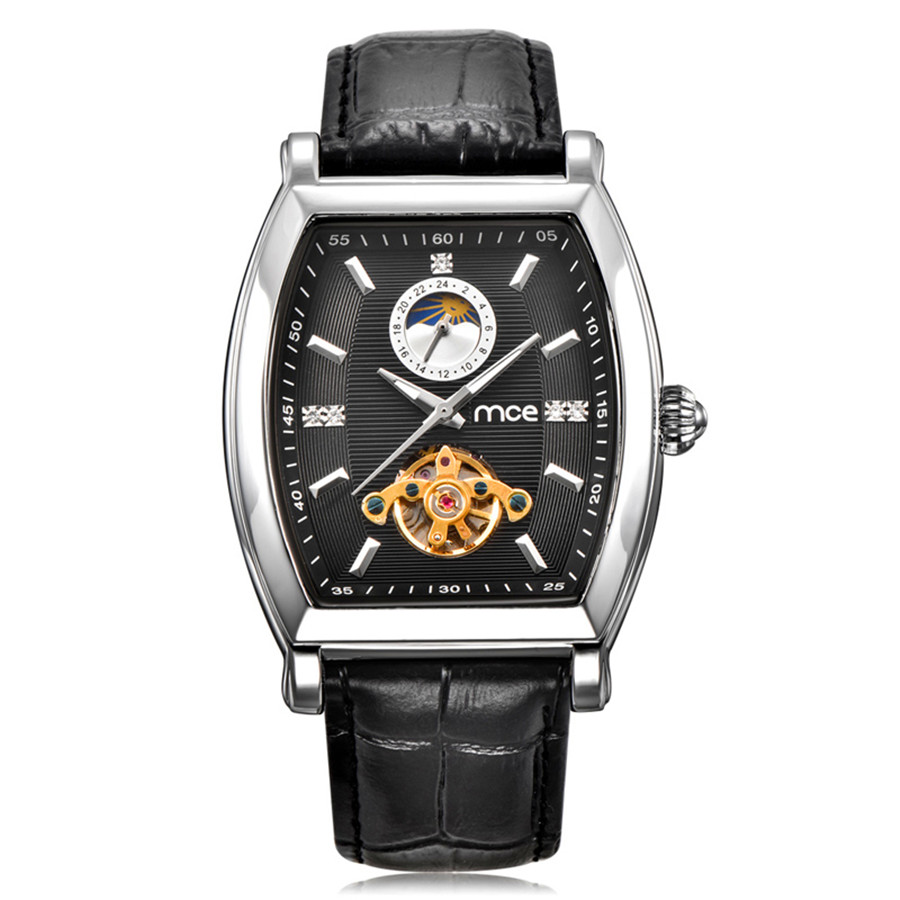 MCE Fashion Luxury Series Moon Phase Tourbillon Design Clock Mens Watches Top Brand Luxury Automatic Male Skeleton Wrist Watch mce top brand mens watches automatic men watch luxury stainless steel wristwatches male clock montre with box 335