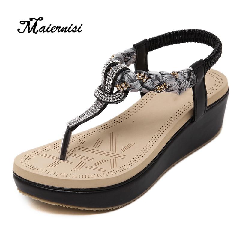 MAIERNISI New Summer Shoes Women Sandals Flat Heel Non-slip Beach Flip Flops Women's Sandals Brand Flowers Sexy Casual Shoes