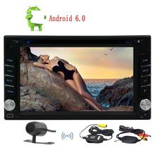 Wireless Camera+Android6.0 Car Auto Radio Double Din Stereo Head Unit 1024*600 Capacitive screen Support GPS Navigation SWC WIFI
