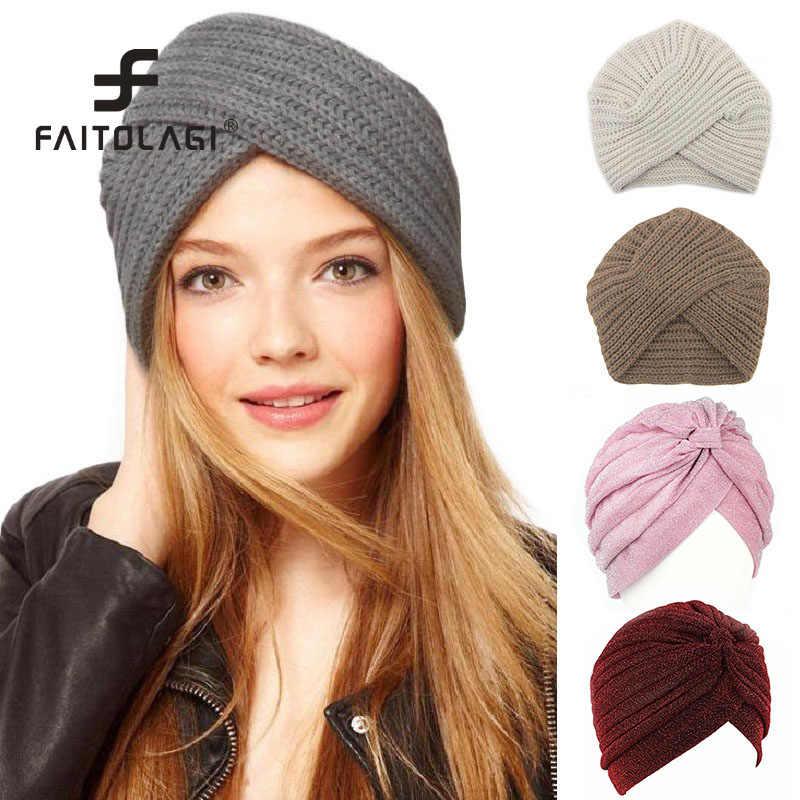 b7b3ee103 Knitted Spring Winter Hat Women Felt Hat Ladies Turban Head Wrap ...