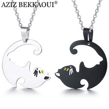 AZIZ BEKKAOUI Stainless Steel Couple Necklaces Animal Cute Cat Pussy Dangle Pendant Necklaces for Lover Fashion Jewelry Dropship(China)