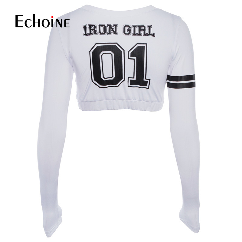 sexy O Neck Number quot 01 quot Print Letters T Shirt Women 2019 new Pullover shirts Ice silk Casual Long Sleeve Crop Top Short tshirt in T Shirts from Women 39 s Clothing