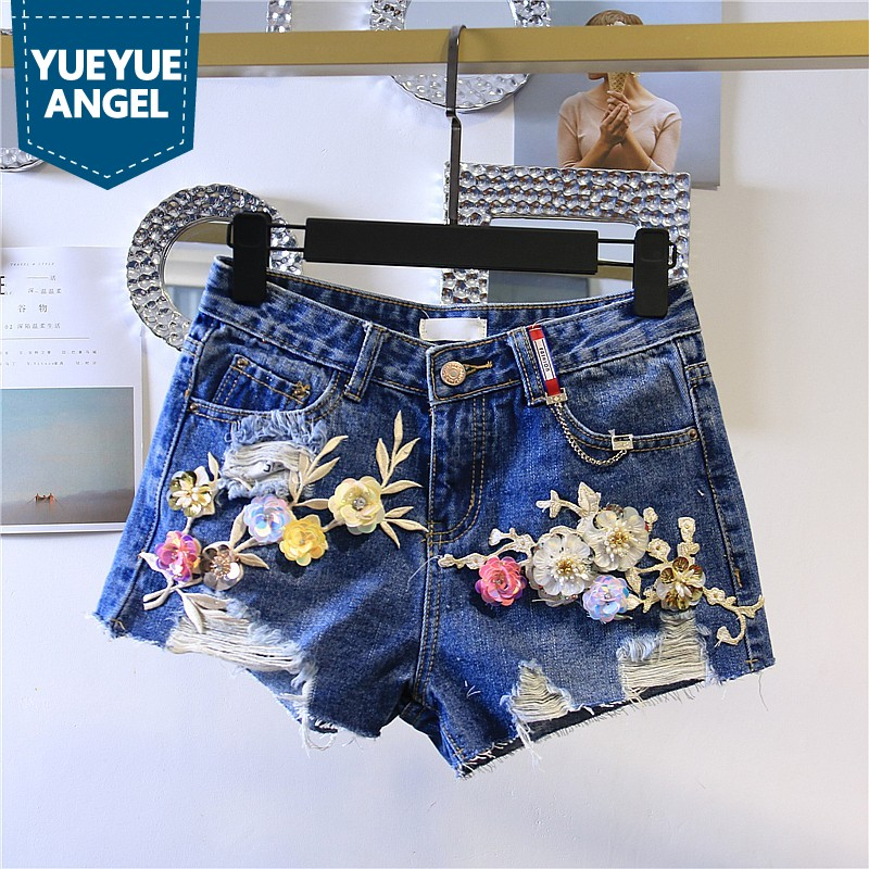 Summer Womens Denim Shorts Korean Fashion High Waist Hole Ripped Loose Fit Jeans Short Sequin Floral Wide Leg Woman Trouser