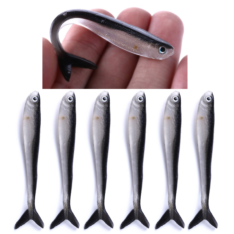 10pcs 80mm 2.2g Soft Silicone Fishing Lure Minnow Saltwater Freshwater Worms Wobblers  Artificial Bait Bass Tackle Jigs