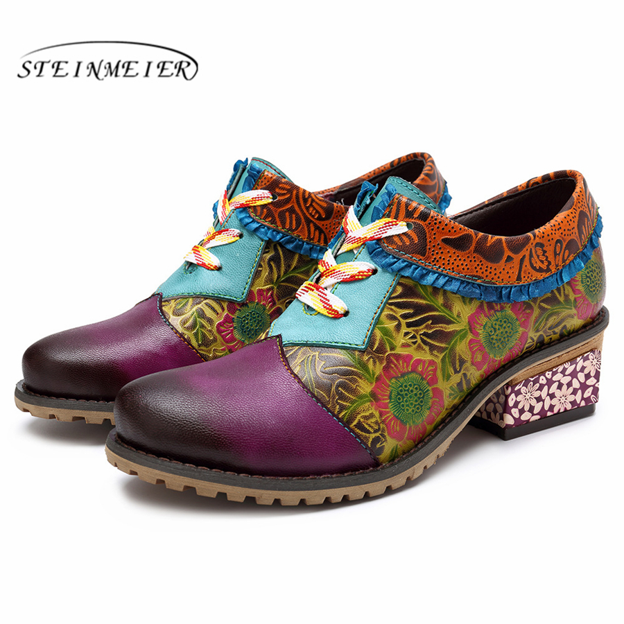 Genuine cow leather Retro lady Pumps casual shoes vintage women handmade oxford shoes for women purple