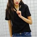Весной и летом женская новая мода Тонкий сплошной цвет Хань Фэн милый игривый шейным V-образным Вырезом с коротким рукавом Футболка девушки