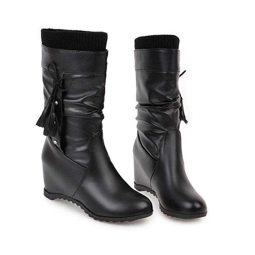 Pierna Cuero 2018 Suave pink Invierno Piel Cómodo Pequeño Las Mujeres Mujer white Calidad Botas Black Zapatos Largas Alta Caliente De 1ptgr40qpw