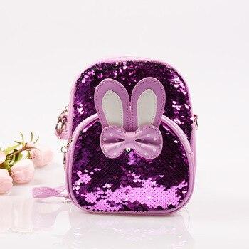 9e2dfee52 Mini lentejuelas mochila lindo conejo oreja bolsas de hombro para niños  niñas Bling brillante viaje mochilas de los niños de la escuela bolsas  mochila