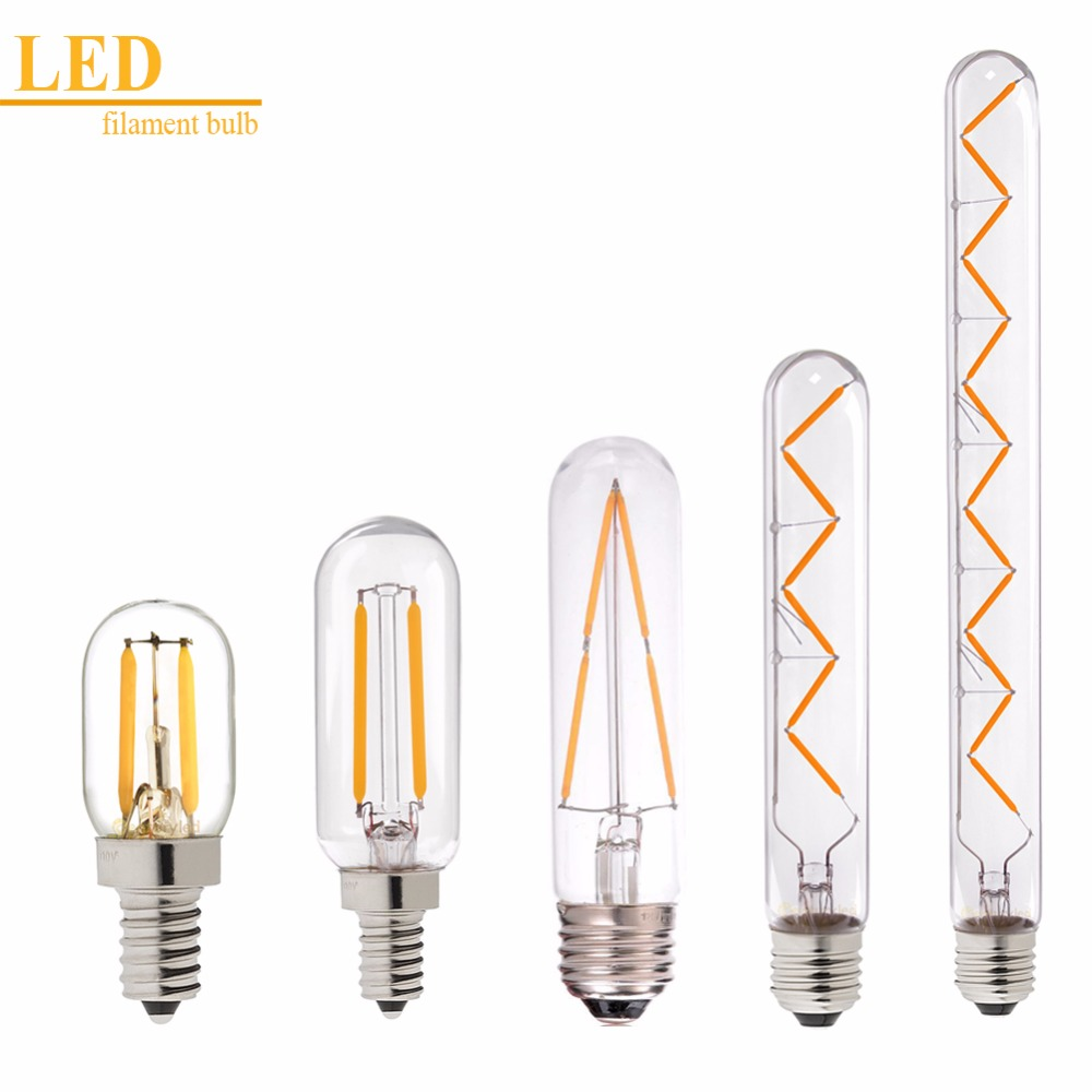 Dimmable,1W 2W 3W 4W 6W,LED Vintage Filament Bulb,T20 T25 T30 Tubular Style,Warm White,110V 220VAC,E12 E14 E26 E27