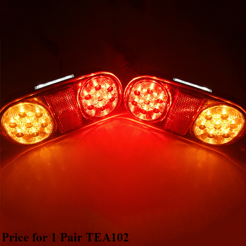 1 Pair AOHEWEI 12v 18 leds trailer light  brake stop position led light turn light License Plate number plate tail light truck-in Truck Light System from Automobiles & Motorcycles