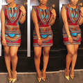 Women Summer Ethnic Style Sexy V-neck Cap Sleeve Bodycon Above-knee Mini Dress