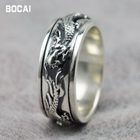 925 sterling silver good luck ring personality Thai silver men's ring, can be rotated wide mighty retro fashion ring