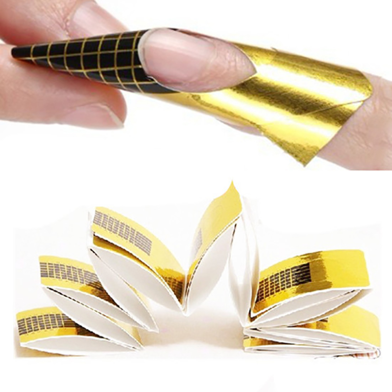20 Pcs Gold Nail Forms Guide Tape Sticker For Acrylic Curve UV Gel French Tip Extension Nail Art Tool