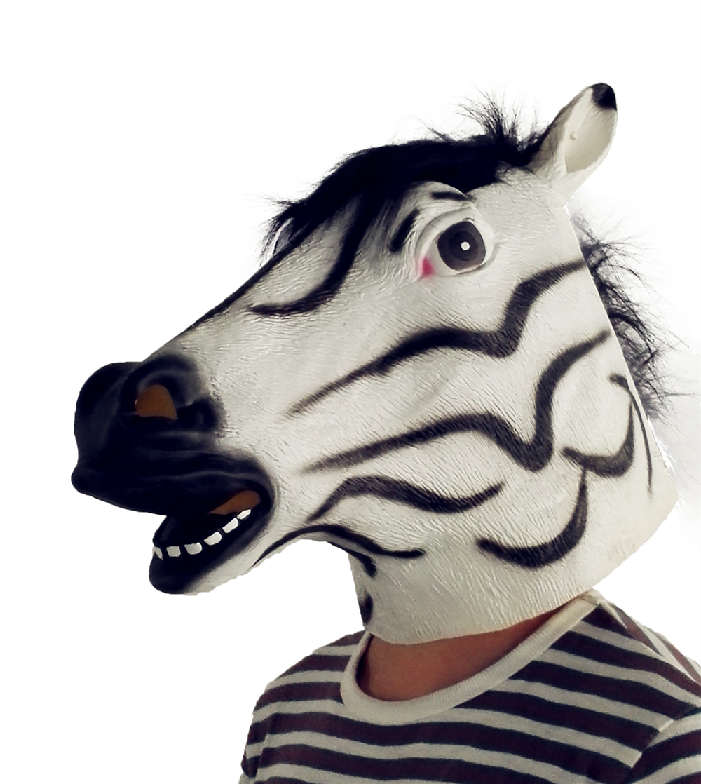 US $6 8 50% OFF|Zebra Full Face Mask Halloween Horse Unicorn Mask Novelty  Creepy Head Latex Costume Theater Prop Party Mask Christamas Hot Sale-in