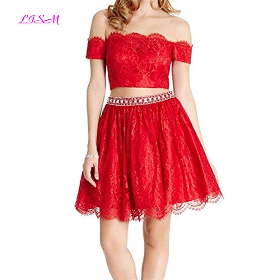 Lace Cocktail Dresses Two Pieces Off the Shoulder Beaded Short Prom Gowns Mini Homecoming Dresses vestidos de graduacion 2019