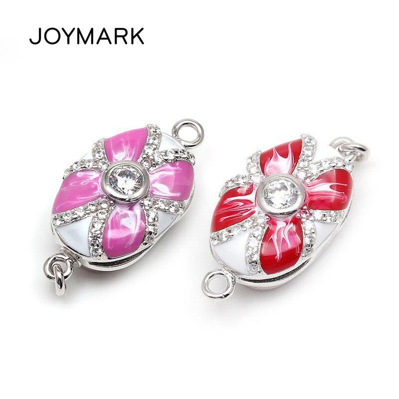 Haute qualité accessoires de bijoux à bricoler soi-même 925 argent Sterling zircone Micro Pave émail boîte fermoirs pour collier de perles SC-BC214