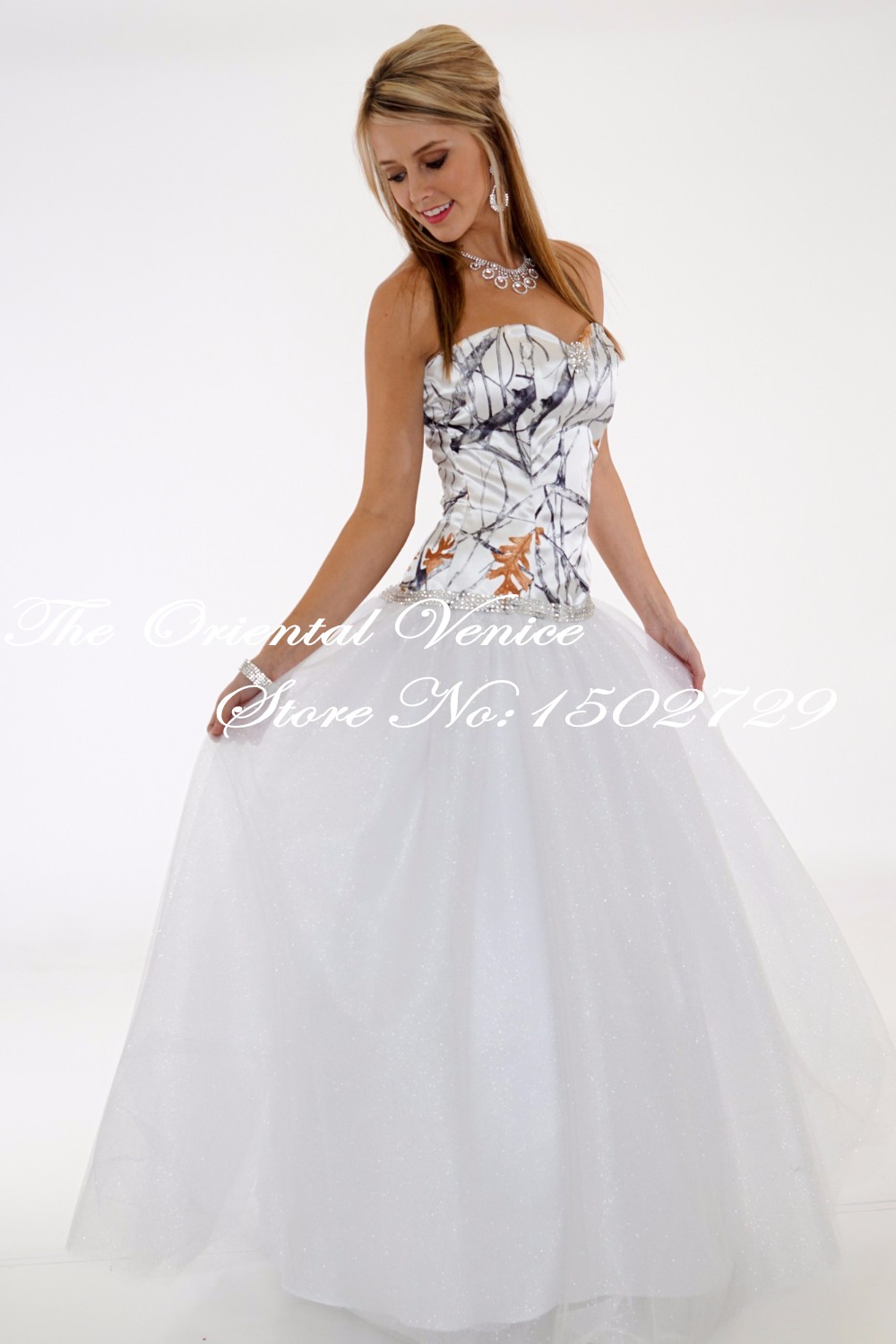 Free Shipping 2017 True Timber Snowfall Camouflage Wedding Gowns White Camo Ball Bling