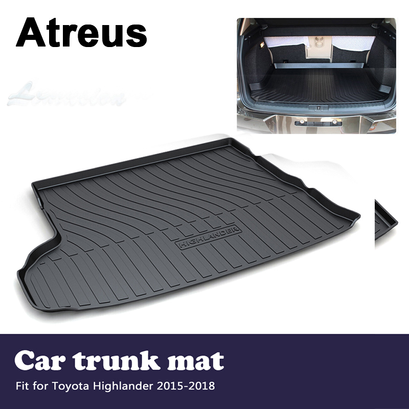 Atreus Car Accessories Waterproof Anti-slip Trunk Mat Tray Floor Carpet Pad For Toyota Highlander 2015 2016 2017 2018Atreus Car Accessories Waterproof Anti-slip Trunk Mat Tray Floor Carpet Pad For Toyota Highlander 2015 2016 2017 2018