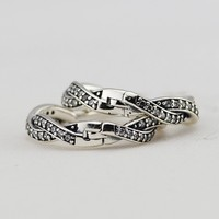 Original Authentic 925 Sterling Silver Braded Earring Hoops With Clear Cz DIY Jewelry For Women Wholesale Prevent Allergy