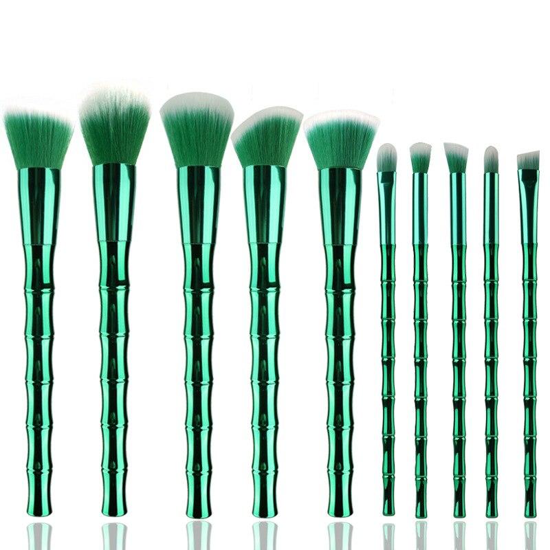 FOEONCO Unicorn Makeup Brushes Set 10pcs Bamboo handle Foundation Eyeshadow Lip Powder Brush Kabuki Make up Brush Kits Tool 8pcs new bamboo handle brush set pro makeup brushes foundation powder blush eyeshadow blend makeup tool 88 2017 sswell
