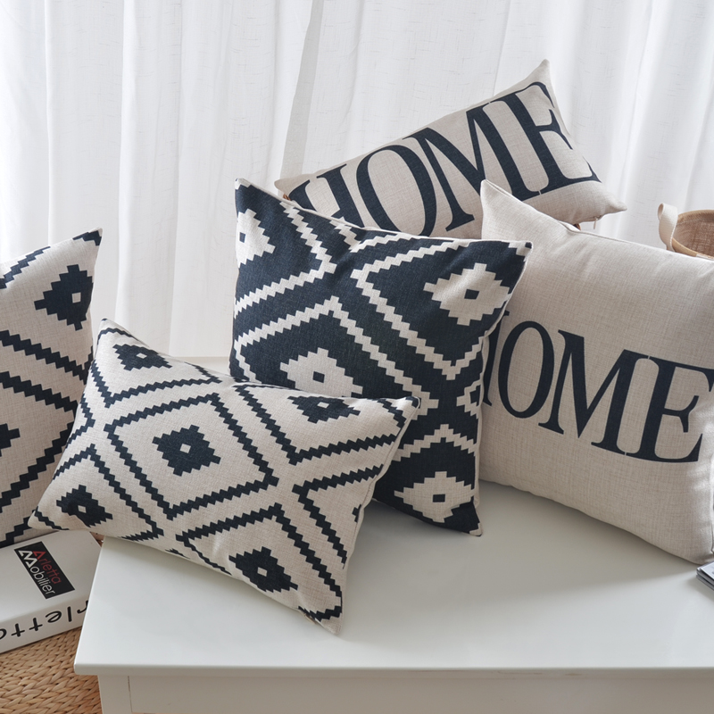 Nordic Style Black and White Geometric Print Cushion Cover Home Decorative Pillow Case Cojines Decorativos Para Sofa Pillow Cove
