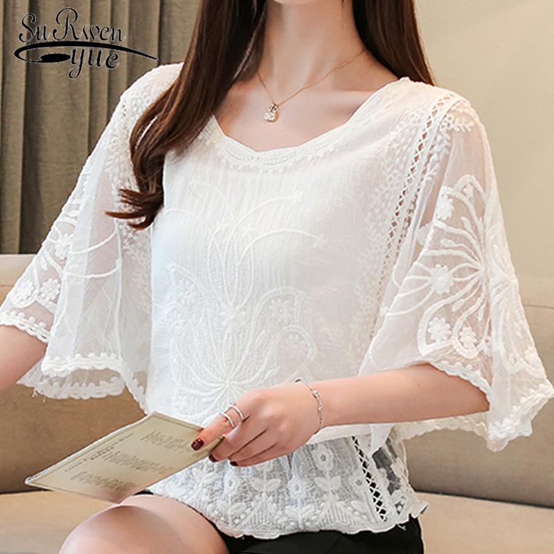 Fashion womens tops and   blouses   2019 ladies tops lace white   shirts   women tops   blouse   for women solid hollow out sweet 4073 50