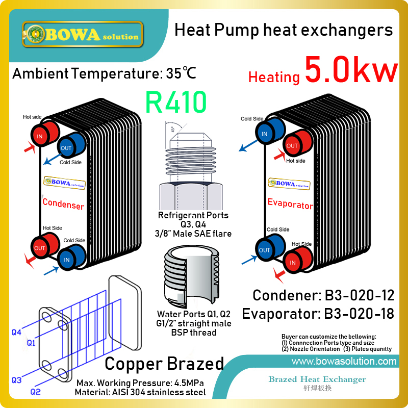 4300kcal R410a geothermal heat pump water heater s plate heat exchangers make the unit become compact