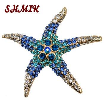 Брошь в виде морской звезды es, синяя страз, брошь в виде морской звезды, модная, высокого класса, цветная, с кристаллами, на свадьбу