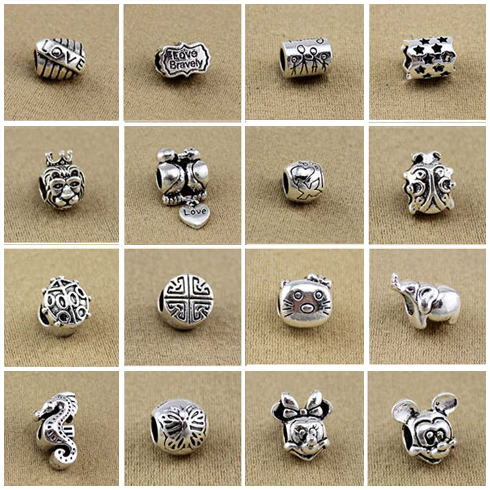 כסף מצופה חרוז משפחה סגנון חמוד עכבר מכתב אהבת חרוז לנשים 925 מקורי פנדורה קסם צמיד לשנות תכשיטים