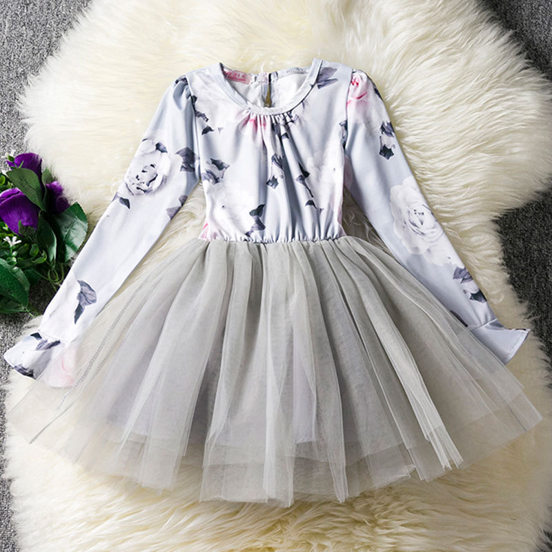 Baby Girls Dresses Long Sleeve 3 4 5 6 7 8 9 10 Print Gray Girls Princess Party Dress with Bow Spring Kids Teens Costume 4 2Q31 sleeveless children baby girls kids clothing summer princess party flower bow gown full dresses 2 4 6 7 8 9 10 years