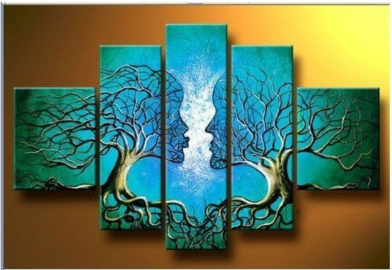 Handmade Home Decoration Wall Paintings 5 Piece Canvas Art Of Abstract Lover Romantic Tree Group Blue