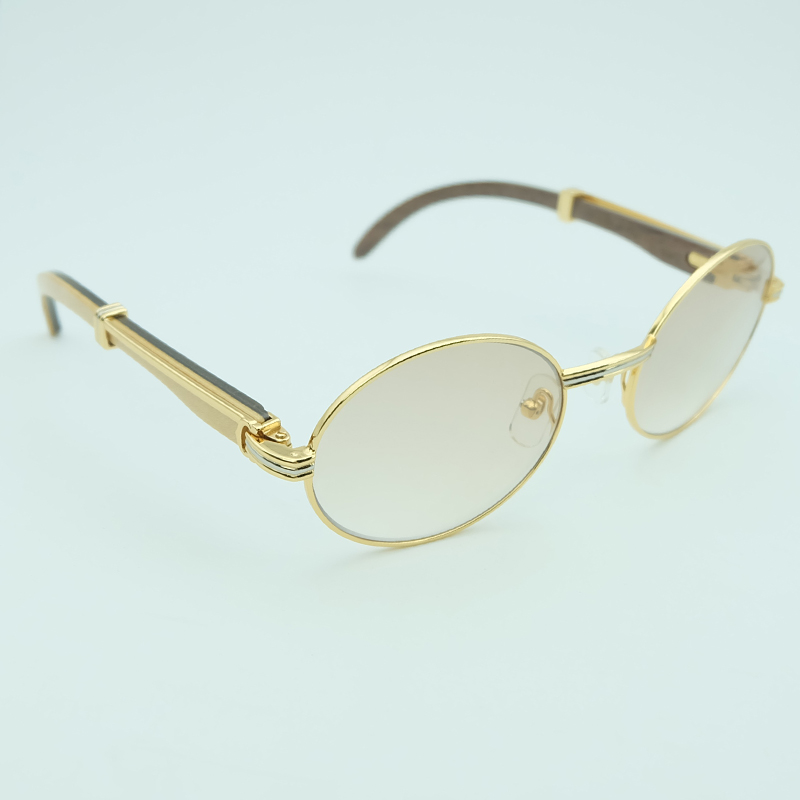 Retro Sunglasses Two Color Wood Oval Brand Carter Men Sunglass Luxury Metal Sun Glasses Women Vocation Accessories For Driving