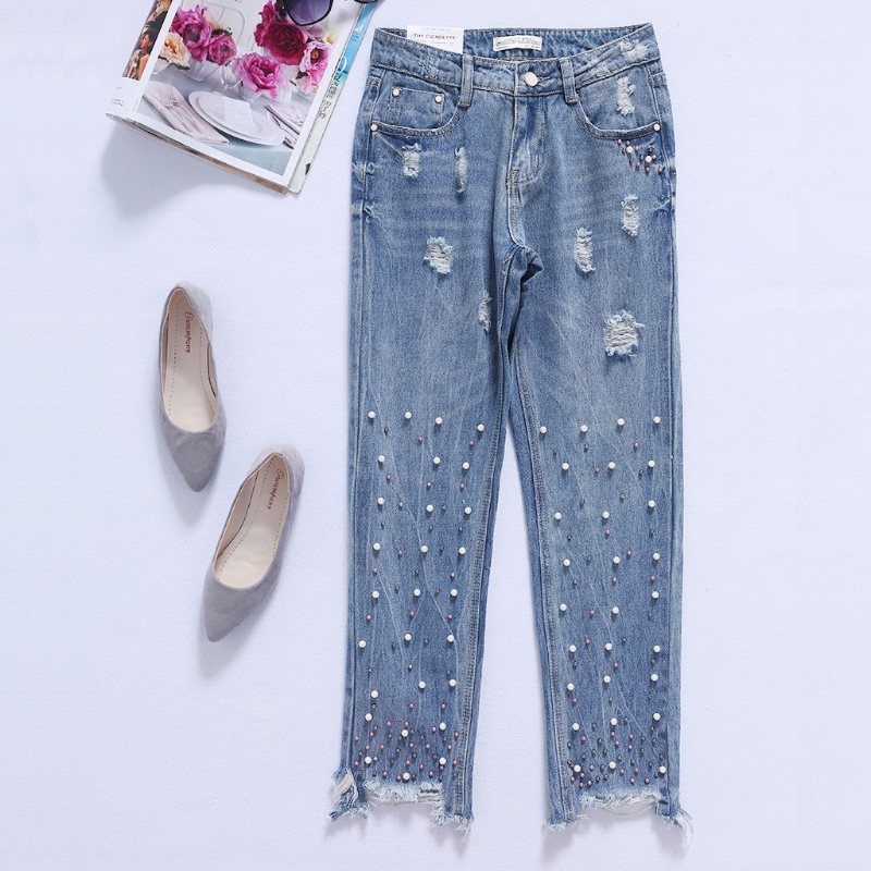 Women Cool And Stylish Washed Denim Pants Bleached Ripped + Bead Pencil Jeans feminino women pants