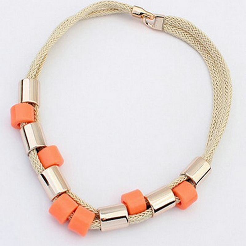 Boho chokers 2017 Fashion all match rope geometric colorful bead Long necklace body jewelry choeker necklac