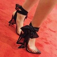 women stiletto shoes autumn women PVC crystal pumps pointed toe black lace ankle strap shoe fashion shallow party single shoe