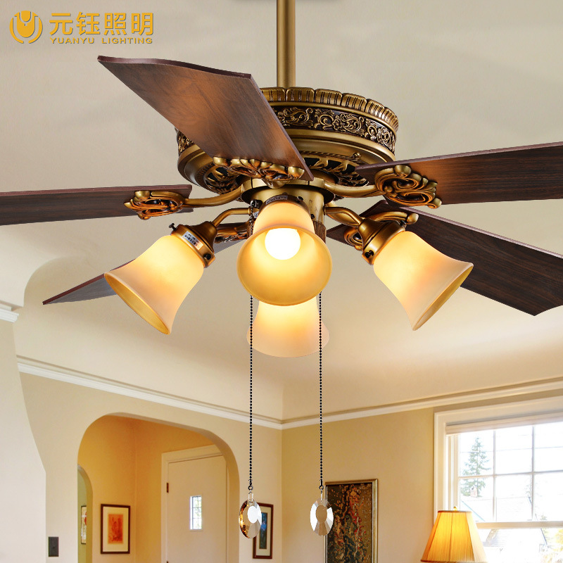 Online Shop Fan Lamp Living Room Chandelier Ceiling Light Electric 52 Inch Leaf Decorative With A