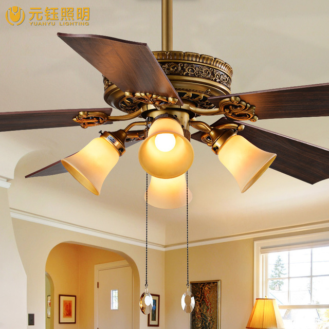 Fan Lamp Living Room Chandelier Ceiling Light Electric 52 Inch Leaf Decorative