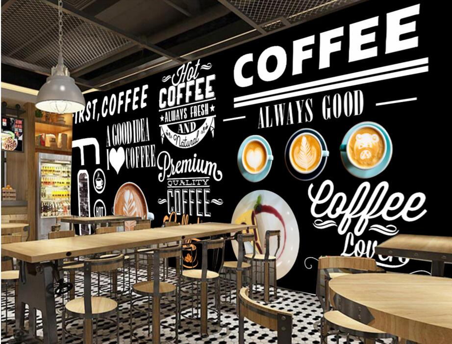 Custom retro wallpaper coffee 3d three dimensional murals for Cafe mural wallpaper