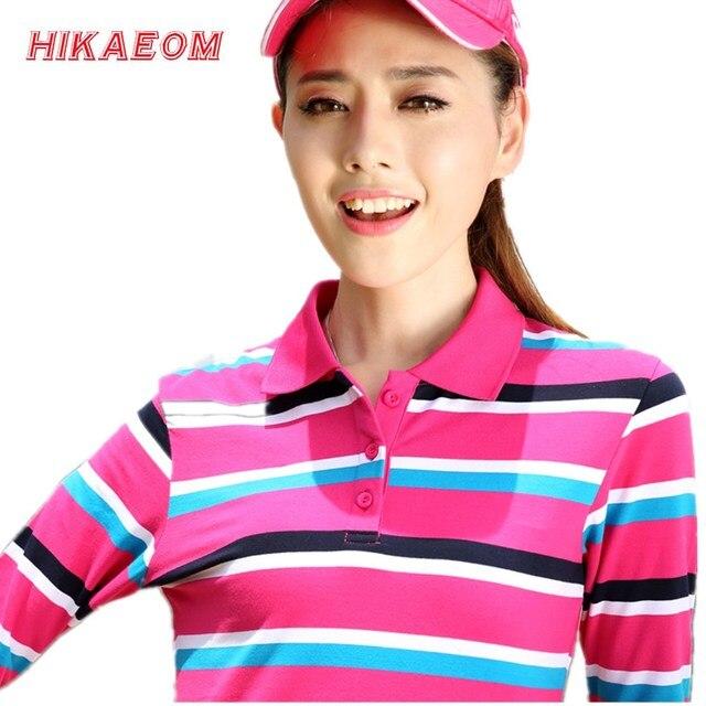 2017 pink women long sleeve polo shirt original autumn new fashion large size lapel Slim stripe women polo shirts