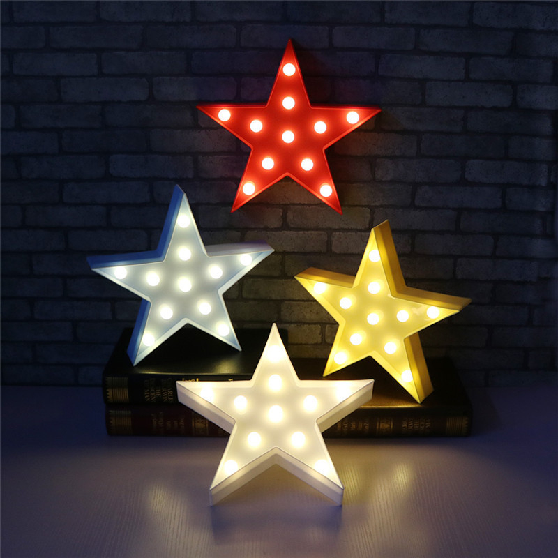 3D LED Night Light Star shape WARM WHITE Color Battery Operated Christmas Deco Kids Bedroom