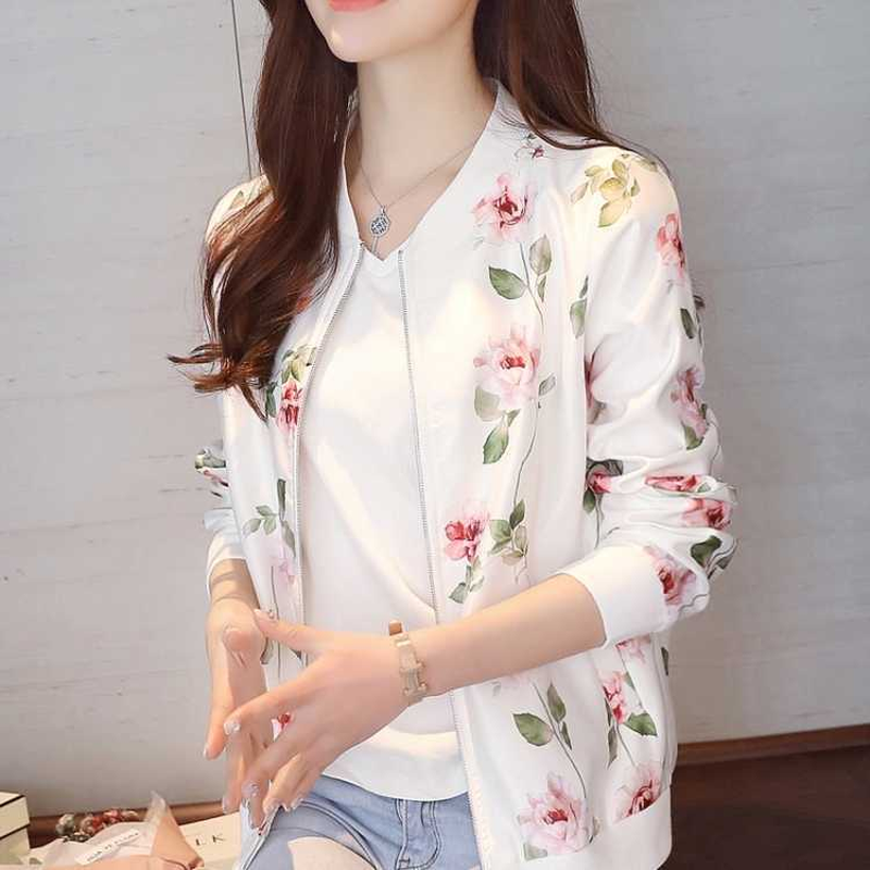 U-SWEAR Spring Print Coat Women   Jacket   Long Sleeve Casual Short Bomber   Jacket   Women Veste Femme Women   Basic     Jackets