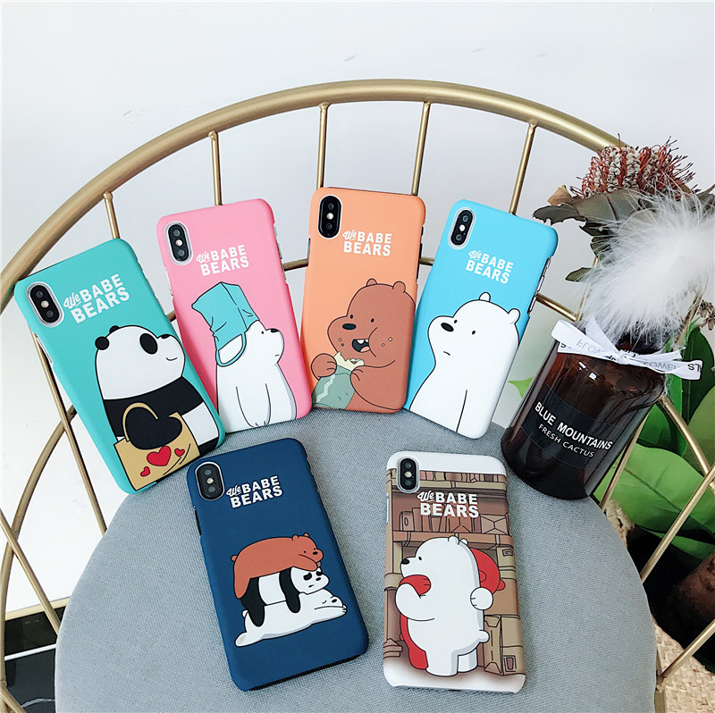 We Bare Bears Hard Phone Cases For Iphone 7 7Plus 8 Plus X 6 6S Plus Case Cute Cartoon Hard PC Back Cover Case