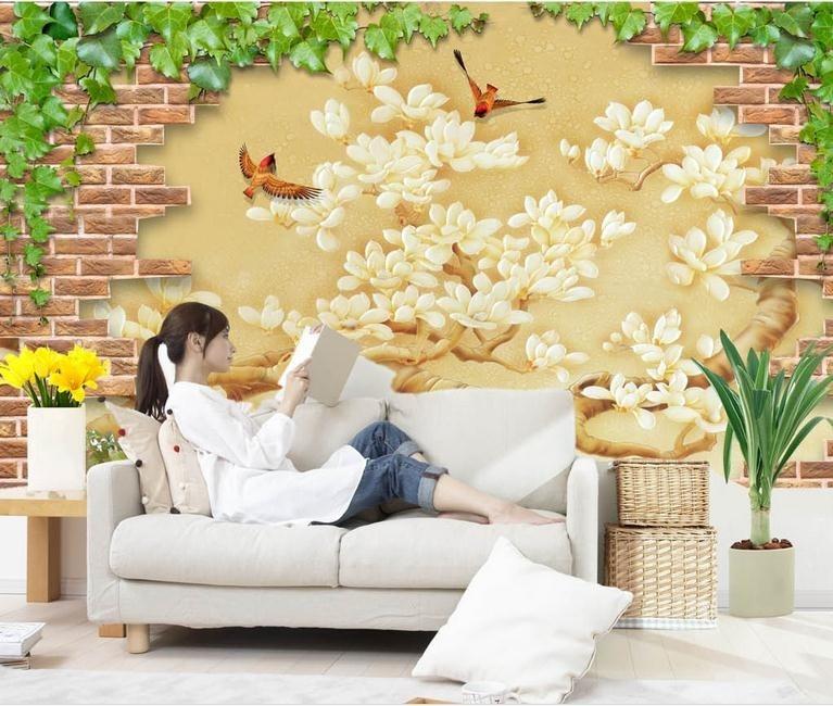 ᗕ3D photo wallpaper custom 3d wall mural wallpaper Brick wall mural ...