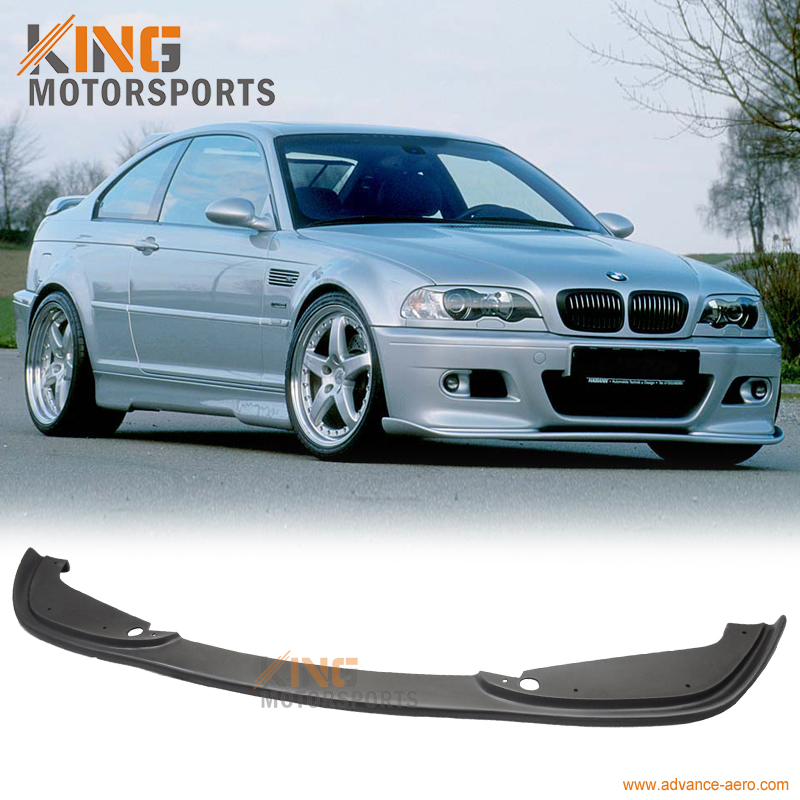 For 2001 2002 2003 2004 2005 2006 E46 M3 PU H Style Front Bumper Lip Spoiler Pre-Primered Ready To Paint